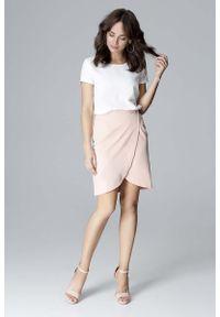 Różowa spódnica mini Katrus krótka, elegancka
