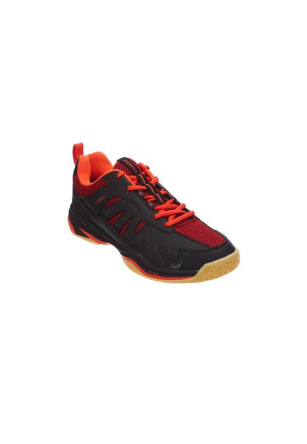 PERFLY - Buty do badmintona BS590 Max Comfort męskie. Kolor: czarny, wielokolorowy, czerwony. Materiał: nylon, mikrofibra. Szerokość cholewki: normalna