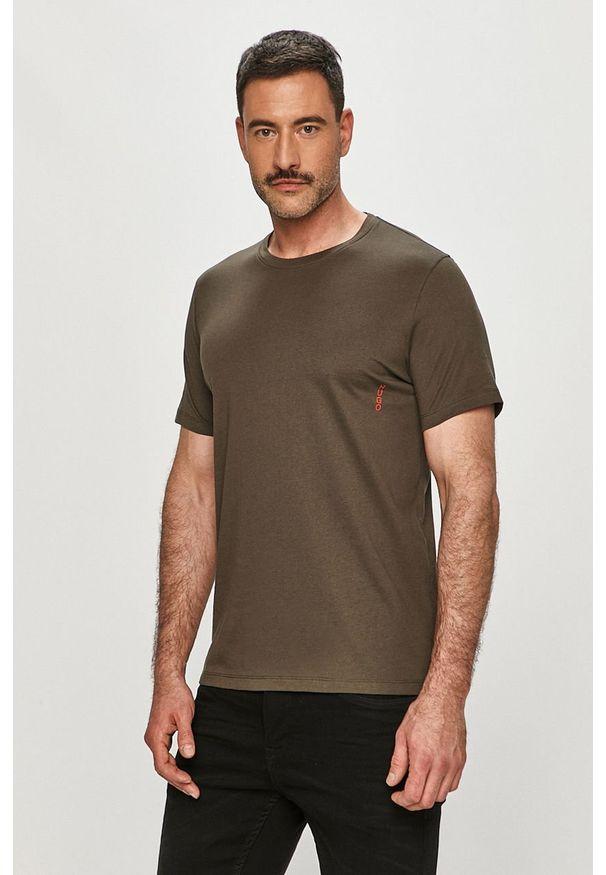Zielony t-shirt Hugo gładki, na co dzień, casualowy