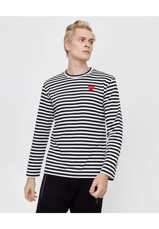COMME DES GARCONS PLAY - Koszulka w paski z sercem. Kolor: czarny. Materiał: bawełna, jeans. Długość rękawa: długi rękaw. Długość: długie. Wzór: paski. Styl: klasyczny