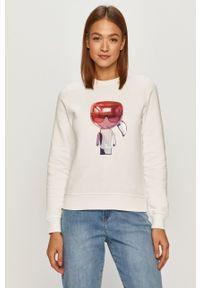 Biała bluza Karl Lagerfeld długa, z długim rękawem, bez kaptura, casualowa