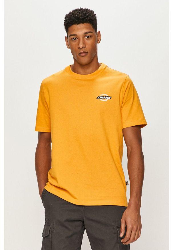 Żółty t-shirt Dickies z nadrukiem, na co dzień, casualowy