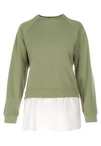 Born2be - Zielona Bluza Morgasana. Kolor: zielony. Materiał: prążkowany. Długość rękawa: raglanowy rękaw. Długość: długie