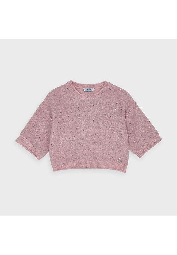 Mayoral Sweter 4347 Różowy Oversize. Kolor: różowy