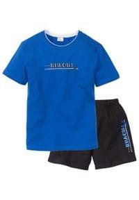 Piżama z krótkimi spodenkami bonprix lazurowo-czarny. Kolor: niebieski. Długość: krótkie