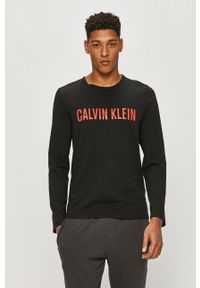 Czarna koszulka z długim rękawem Calvin Klein Underwear z nadrukiem, casualowa