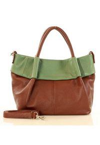 Zielona Skórzana Torebka Typu Kuferek handbag MARCO MAZZINI. Kolor: zielony. Materiał: skórzane