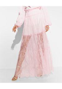 Ermanno Firenze - ERMANNO FIRENZE - Różowa koronkowa spódnica maxi. Stan: podwyższony. Kolor: różowy, wielokolorowy, fioletowy. Materiał: koronka