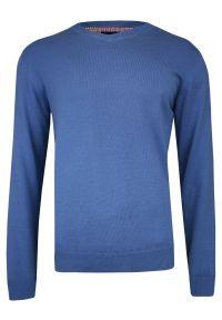 Niebieski sweter Adriano Guinari do pracy, z dekoltem w serek, klasyczny