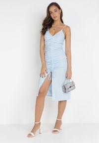 Born2be - Jasnoniebieska Sukienka Aigathise. Kolor: niebieski. Długość rękawa: na ramiączkach. Sezon: lato. Typ sukienki: asymetryczne, bodycon