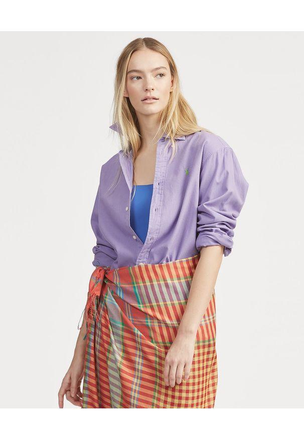 Ralph Lauren - RALPH LAUREN - Koszula Oxford. Typ kołnierza: polo. Kolor: wielokolorowy, fioletowy, różowy. Materiał: materiał, bawełna. Długość rękawa: długi rękaw. Długość: długie. Wzór: haft