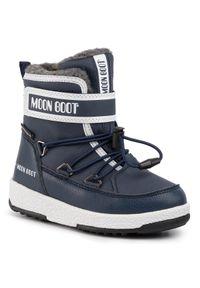 Niebieskie buty zimowe Moon Boot na spacer, z cholewką