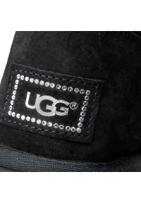 Czarny kozaki Ugg elegancki, z aplikacjami, z cholewką