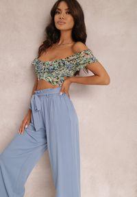 Renee - Niebieskie Spodnie Szerokie Phiorephis. Kolor: niebieski. Materiał: tkanina, wiskoza, materiał. Długość: długie. Wzór: kwiaty, gładki