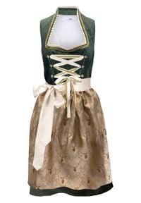 Sukienka ludowa ze stójką bonprix ciemny khaki w kropki. Typ kołnierza: kołnierzyk stójkowy. Kolor: zielony. Wzór: kropki