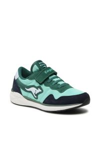 KangaRoos - Sneakersy KANGAROOS - Invader Rk 19031 000 8024 S Lt. Green. Okazja: na spacer, na co dzień. Zapięcie: rzepy. Kolor: zielony. Materiał: skóra, zamsz, materiał. Szerokość cholewki: normalna. Styl: casual