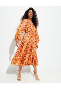 ZIMMERMANN - Pomarańczowa sukienka Mae. Kolor: pomarańczowy. Materiał: jedwab. Długość: midi