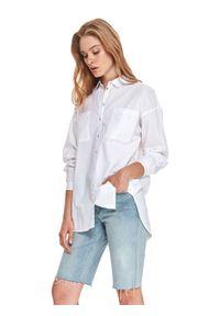 TOP SECRET - Biała koszula o luźnym kroju. Kolor: biały. Materiał: bawełna. Długość: długie. Sezon: lato. Styl: klasyczny