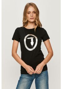 Czarna bluzka Trussardi Jeans z okrągłym kołnierzem, z nadrukiem, na co dzień, casualowa