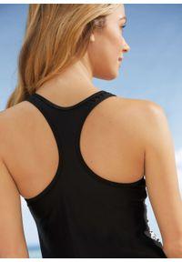 Czarny strój kąpielowy bonprix z nadrukiem, z wyjmowanymi miseczkami