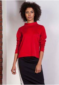 Czerwona bluzka z długim rękawem Lanti wizytowa, ze stójką