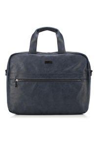 Niebieska torba na laptopa Wittchen w kolorowe wzory