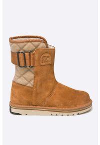 sorel - Sorel - Botki Newbie. Nosek buta: okrągły. Zapięcie: klamry. Kolor: brązowy. Materiał: kauczuk, materiał, guma. Sezon: zima