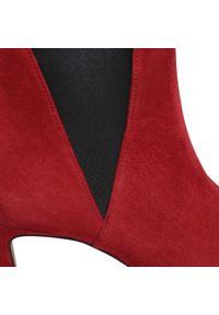 Czerwone botki HÖGL na obcasie, na średnim obcasie