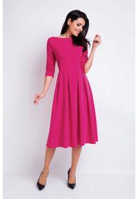 Różowa sukienka wizytowa Awama wizytowa, midi