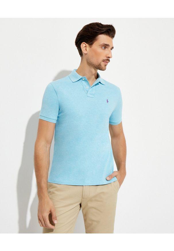 Ralph Lauren - RALPH LAUREN - Niebieska koszulka polo Mesh Custom Slim Fit. Typ kołnierza: polo. Kolor: niebieski. Materiał: mesh. Długość: długie. Wzór: haft