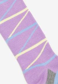 Born2be - Fioletowe Rajstopy Mossspring. Kolor: fioletowy. Materiał: bawełna, elastan. Wzór: kolorowy