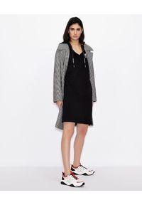 Czarna sukienka mini Armani Exchange klasyczna, z kapturem