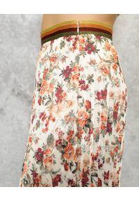 CRISTINAEFFE - Plisowana spódnica midi. Kolor: biały. Wzór: kwiaty, nadruk