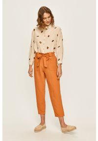 Pomarańczowe spodnie materiałowe ANSWEAR z podwyższonym stanem, na co dzień, casualowe