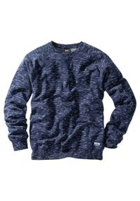 Bluza bonprix ciemnoniebieski melanż. Kolor: niebieski. Wzór: melanż. Styl: sportowy
