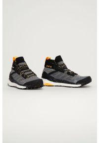 Szare buty trekkingowe adidas Performance z cholewką, z okrągłym noskiem, Adidas Terrex