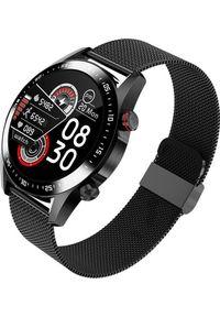 Smartwatch KingWear TEFITI E12 Smartwatch 2021, inteligentny zegarek z pomiarem tętna Dual BT i nawigacją GPS, czarna stal nierdzewna sreberny. Rodzaj zegarka: smartwatch. Kolor: czarny