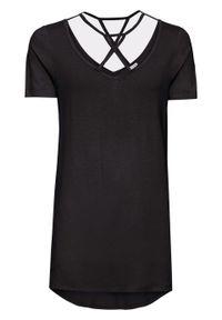 Shirt z dłuższym tyłem i ozdobnymi troczkami bonprix czarny. Kolor: czarny. Długość: długie
