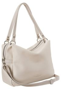 DAVID JONES - Shopper bag ecru David Jones CM6007 CREAMY WHITE. Materiał: skórzane. Styl: elegancki