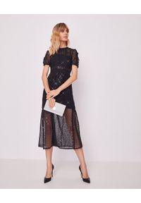 Czarna sukienka z aplikacjami, midi