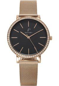 Zegarek Gatsby Damski różowe złoto mesh z cyrkoniami (JPG1050). Kolor: różowy, wielokolorowy, złoty. Materiał: mesh