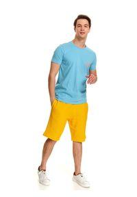 Niebieski t-shirt TOP SECRET na co dzień, z dekoltem na plecach, krótki #7