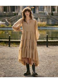 BY CABO - Sukienka GRACE latte. Kolor: beżowy. Materiał: len, wiskoza, materiał. Długość rękawa: długi rękaw