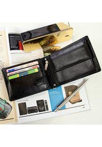 Krenig - Skórzany portfel męski czarny w pudełku KRENIG Classic 12090. Kolor: czarny. Materiał: skóra