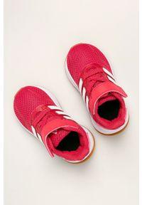 Różowe buty sportowe Adidas na rzepy, z cholewką