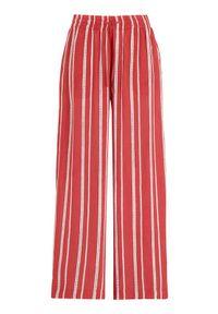 Freequent Spodnie Lia czerwony w paski female czerwony/ze wzorem S (38). Kolor: czerwony. Materiał: tkanina. Wzór: paski