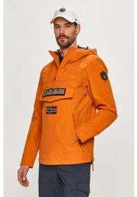 Pomarańczowa kurtka Napapijri gładkie, casualowa, na co dzień, z kapturem