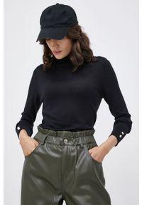 Vero Moda - Sweter. Okazja: na co dzień. Typ kołnierza: golf. Kolor: czarny. Materiał: włókno, dzianina. Długość rękawa: długi rękaw. Długość: długie. Styl: casual