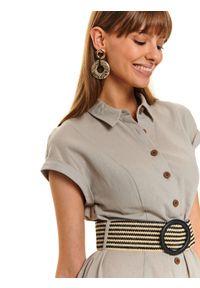 Szara sukienka TOP SECRET casualowa, z koszulowym kołnierzykiem, do pracy, w kolorowe wzory