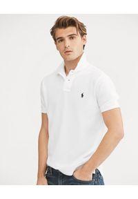 Ralph Lauren - RALPH LAUREN - Biała koszulka polo Custom Slim Fit. Typ kołnierza: polo. Kolor: biały. Materiał: bawełna. Wzór: haft #1